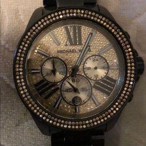 Michael kors watch black with gold rhinestones